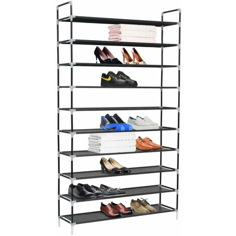 Hommoo Shoe Rack with 10 Shelves Metal and Non-woven Fabric Black QAH11588