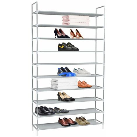 Hommoo Shoe Rack with 10 Shelves Metal and Non-woven Fabric Silver QAH11589