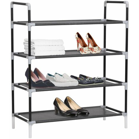Hommoo Shoe Rack with 4 Shelves Metal and Non-woven Fabric Black QAH11586