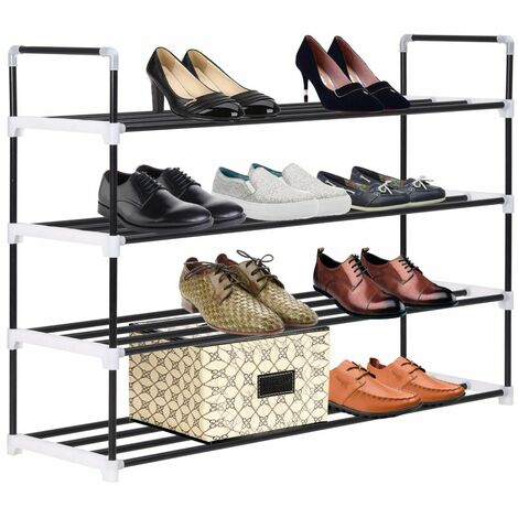 Hommoo Shoe Rack with 4 Shelves Metal and Plastic Black QAH11584