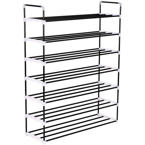 Hommoo Shoe Rack with 7 Shelves Metal and Plastic Black