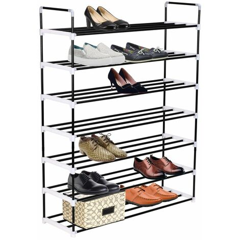 Hommoo Shoe Rack with 7 Shelves Metal and Plastic Black QAH11585