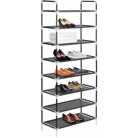 Hommoo Shoe Rack with 8 Shelves Metal and Non-woven Fabric Black QAH11587