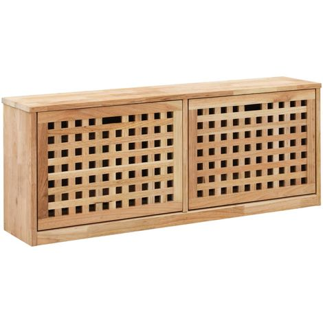 Hommoo Shoe Storage Bench 94x20x38 cm Solid Walnut Wood
