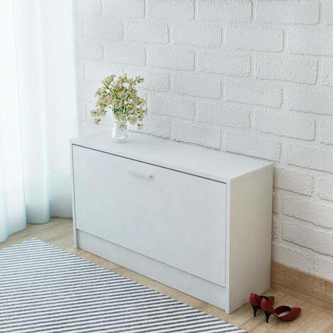Hommoo Shoe Storage Bench White 80x24x45 cm