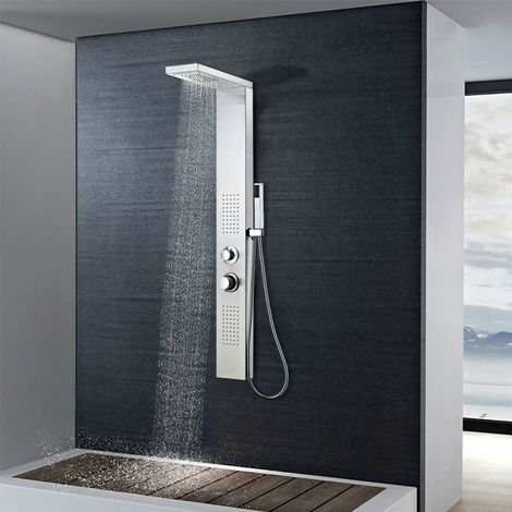 Hommoo Shower Panel System Stainless Steel Square