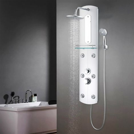 Hommoo Shower Panel Unit 25x43x120 cm Silver
