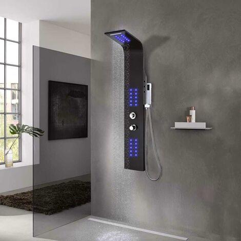 Hommoo Shower Panel Unit Aluminium 20x44x130 cm Black