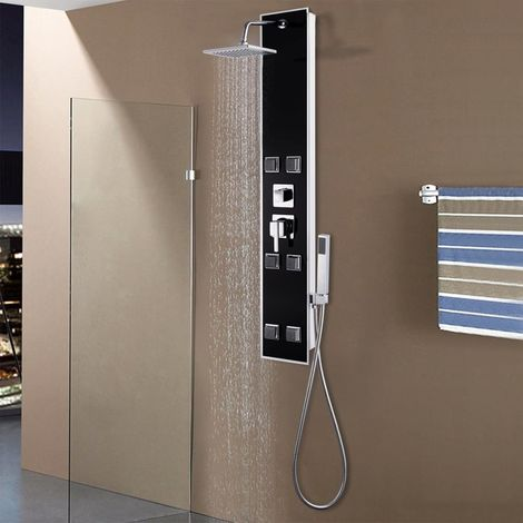 Hommoo Shower Panel Unit Glass 18x42.1x120 cm Black