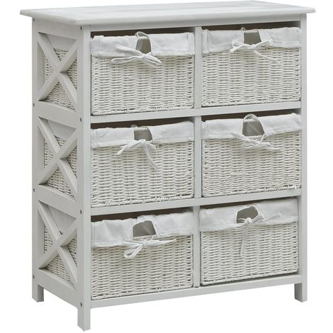 Hommoo Side Cabinet with Six Baskets White Wood