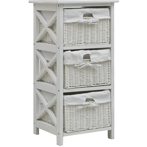Hommoo Side Cabinet with Three Baskets White Wood