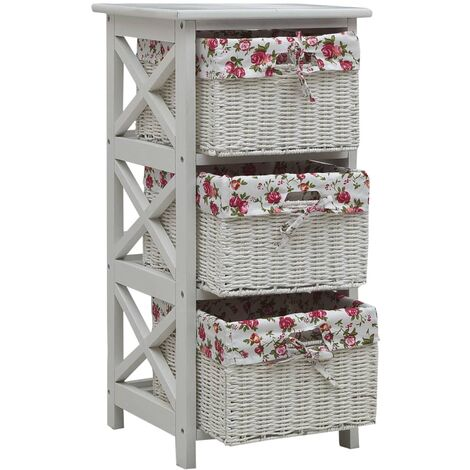Hommoo Side Cabinet with Three Baskets White Wood QAH37471