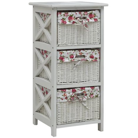 Hommoo Side Cabinet with Three Baskets White Wood VD37471