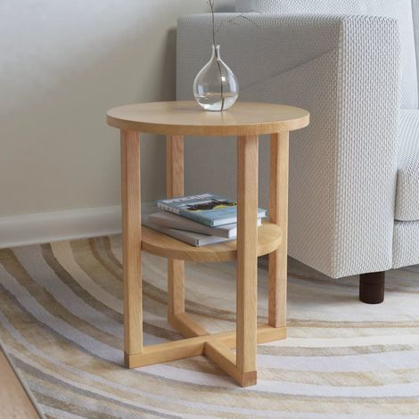 Hommoo Side Table 40x50 cm Solid Oak Wood