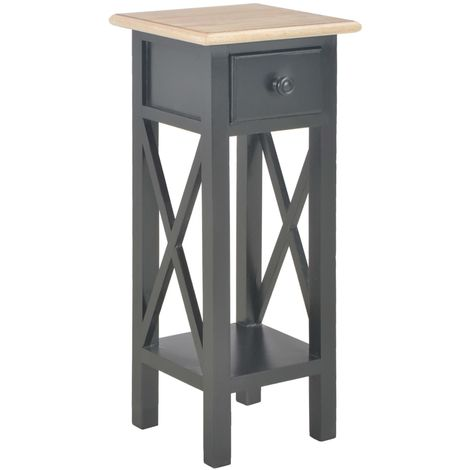 Hommoo Side Table Black 27x27x65.5 cm Wood