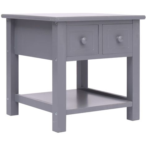 Hommoo Side Table Grey 40x40x40 cm Paulownia Wood