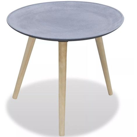 Hommoo Side Table Round Grey Concrete Look