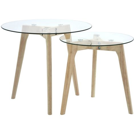 Hommoo Side Table Set 2 pcs Tempered Glass