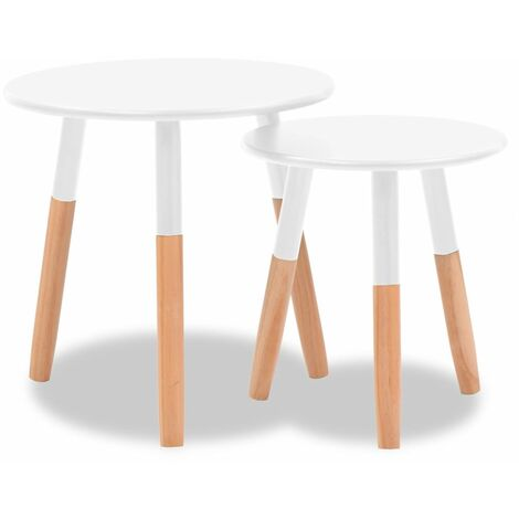 Hommoo Side Table Set 2 Pieces Solid Pinewood White QAH10794