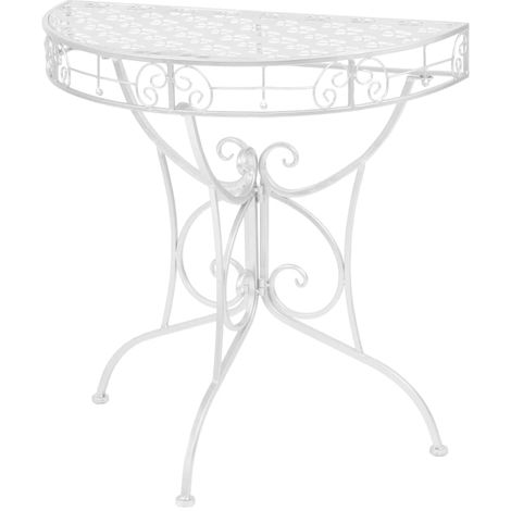 Hommoo Side Table Vintage Style Half Round Metal 72x36x74 cm Silver
