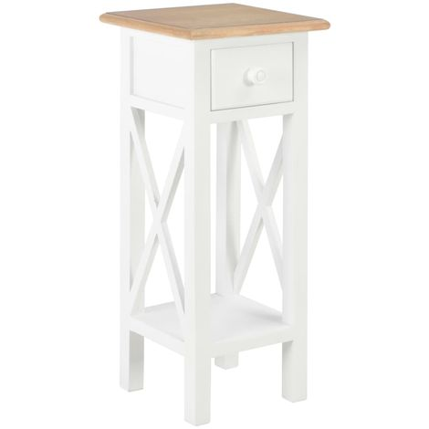 Hommoo Side Table White 27x27x65.5 cm Wood