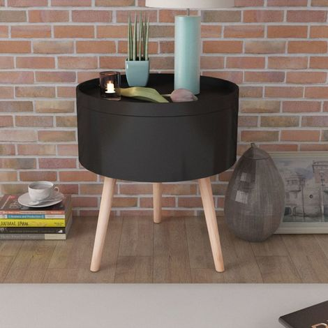 Hommoo Side Table with Serving Tray Round 39.5x44.5 cm Black