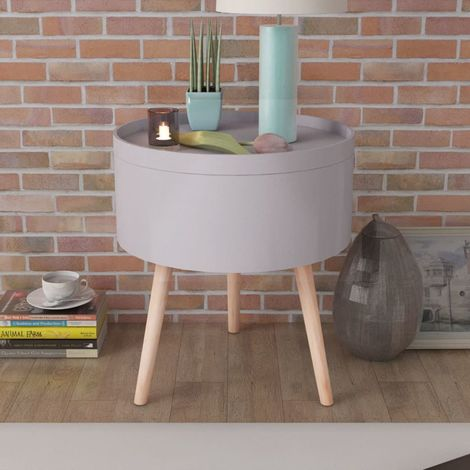 Hommoo Side Table with Serving Tray Round 39.5x44.5 cm Grey