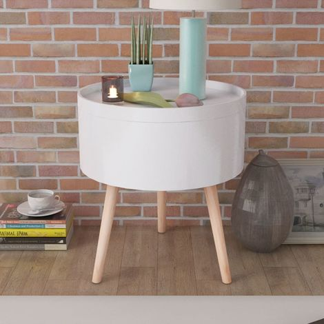 Hommoo Side Table with Serving Tray Round 39.5x44.5 cm White