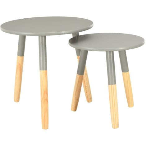 Hommoo Side Tables 2 pcs Grey Solid Pinewood