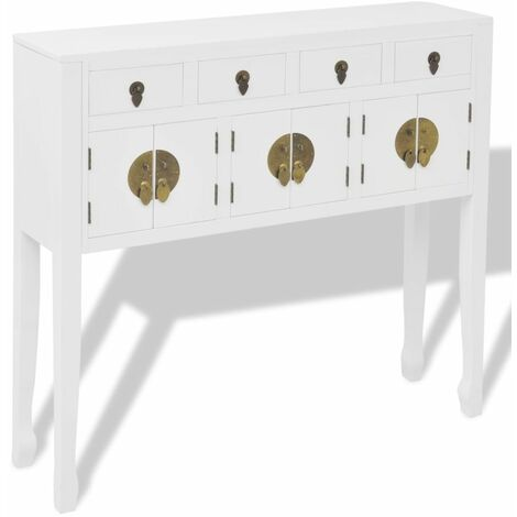 Hommoo Sideboard Chinese Style Solid Wood White QAH09356