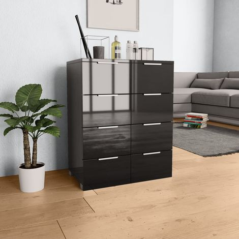 Hommoo Sideboard High Gloss Black 60x35x76 cm Chipboard