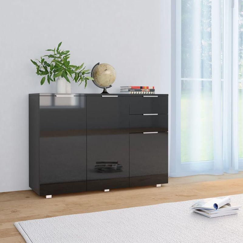 Sideboard Hochglanz-Schwarz 107 x 35 x 76 cm VD24410 - Hommoo