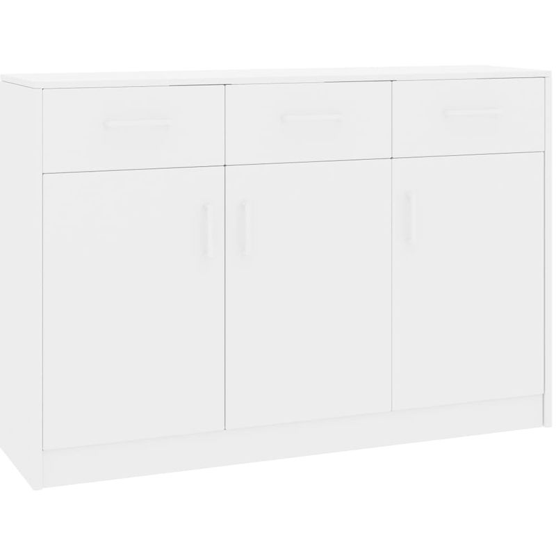Sideboard Hochglanz-Weiß 110 x 34 x 75 cm Spanplatte VD31736 - Hommoo