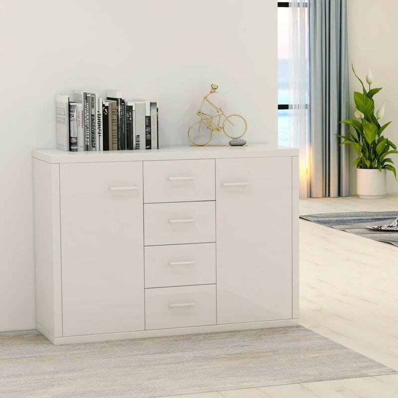Sideboard Hochglanz-Weiß 88 x 30 x 75 cm Spanplatte VD31726 - Hommoo