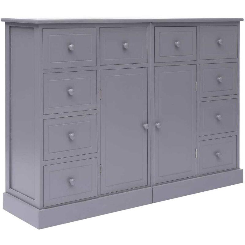 Sideboard mit 10 Schubladen Grau 113x30x79 cm Holz VD24717 - Hommoo