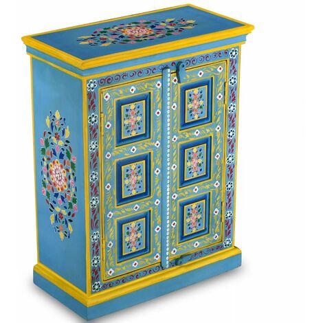 Hommoo Sideboard Solid Mango Wood Turquoise Hand Painted QAH10866
