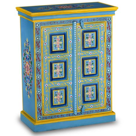 Hommoo Sideboard Solid Mango Wood Turquoise Hand Painted VD10866