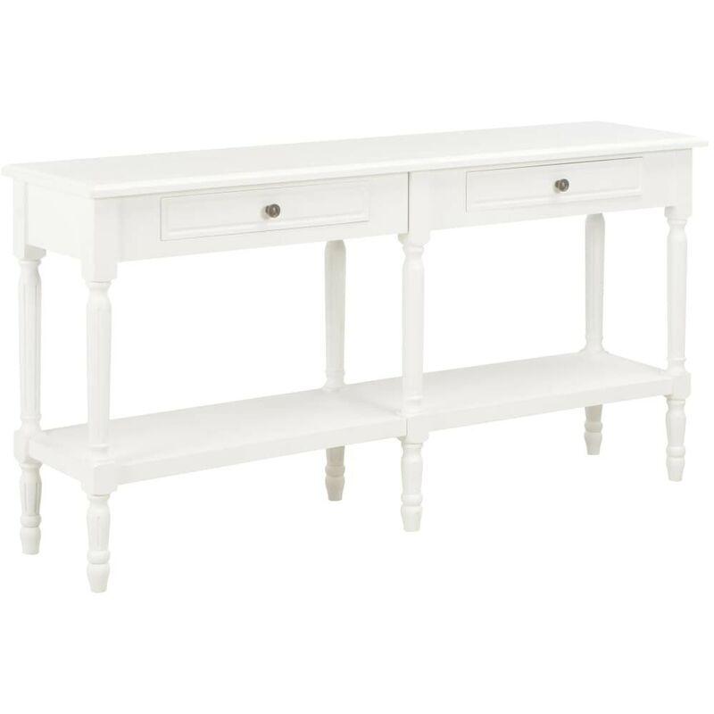 Hommoo Sideboard Weiß 150 x 35 x 77 cm Massivholz VD14619