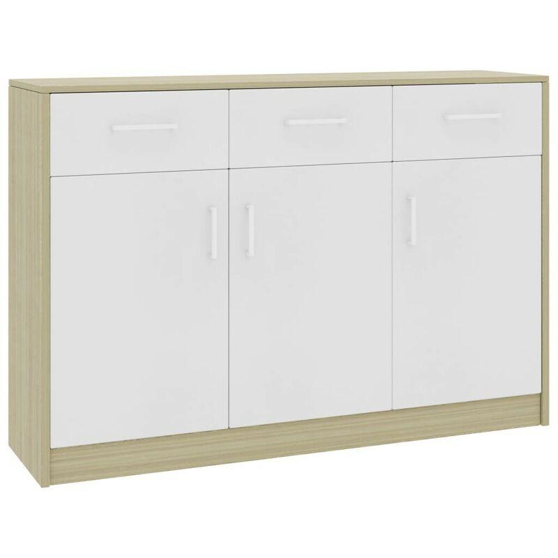 Sideboard Weiß und Sonoma-Eiche 110x34x75 cm Spanplatte VD31735 - Hommoo