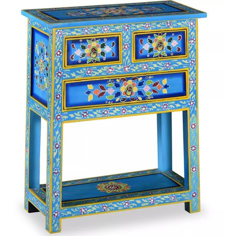 Hommoo Sideboard with Drawers Solid Mango Wood Turquoise Hand Painted VD10868