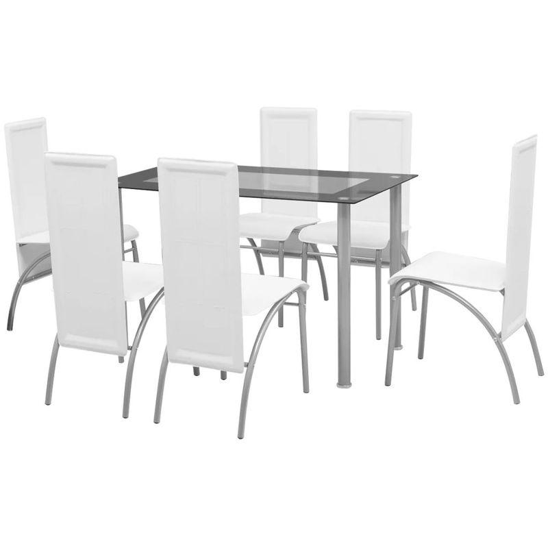 Siebenteilige Essgruppe Weiß VD09520 - Hommoo