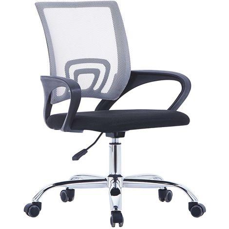 Hommoo Silla de oficina con respaldo de malla y tela gris