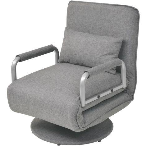 Hommoo Silla giratoria y sof¨¢ cama tela gris claro