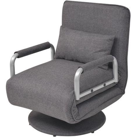 Hommoo Silla giratoria y sofá cama tela gris oscuro
