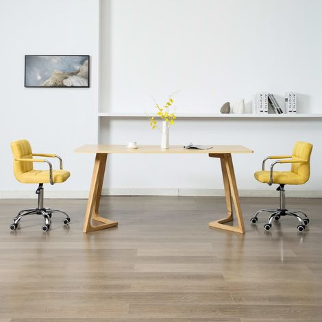 Hommoo Sillas de comedor giratorias 2 unidades tela amarilla