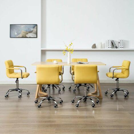 Hommoo Sillas de comedor giratorias 6 unidades tela amarilla