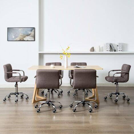 Hommoo Sillas de comedor giratorias 6 unidades tela color gris topo HAXD20957
