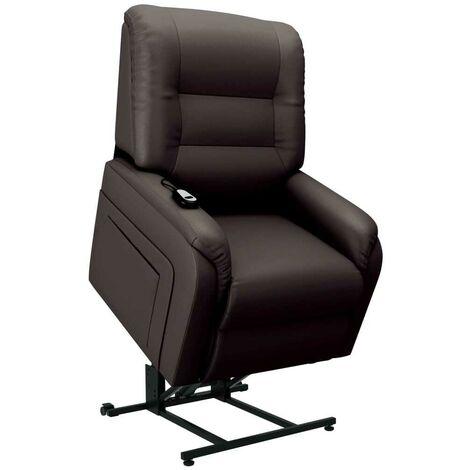 Hommoo Sill¨®n de masaje reclinable para TV cuero sint¨¦tico marr¨®n