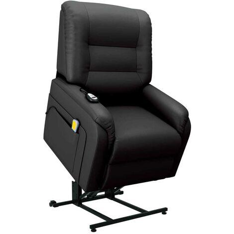 Hommoo Sill¨®n de masaje reclinable para TV cuero sint¨¦tico negro