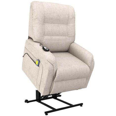 Hommoo Sill¨®n de masaje reclinable para TV e incorporaci¨®n tela crema